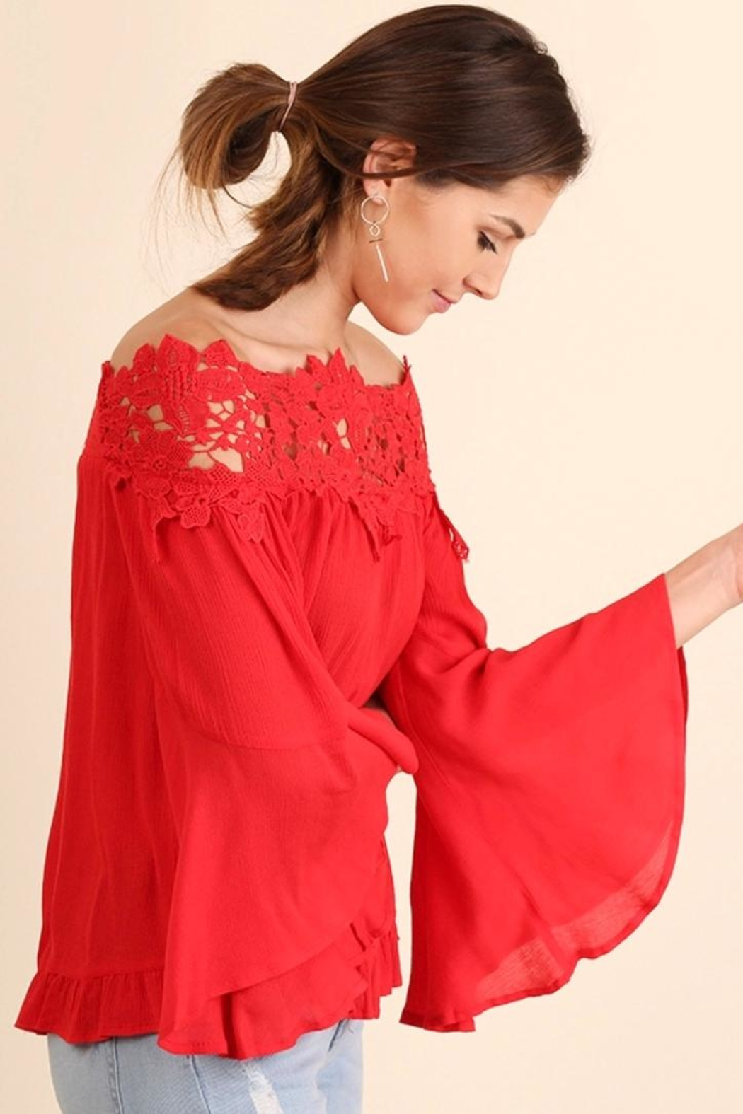 Umgee USA Lace Bell-Sleeve Blouse - Front Full Image