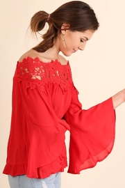 Umgee USA Lace Bell-Sleeve Blouse - Front full body