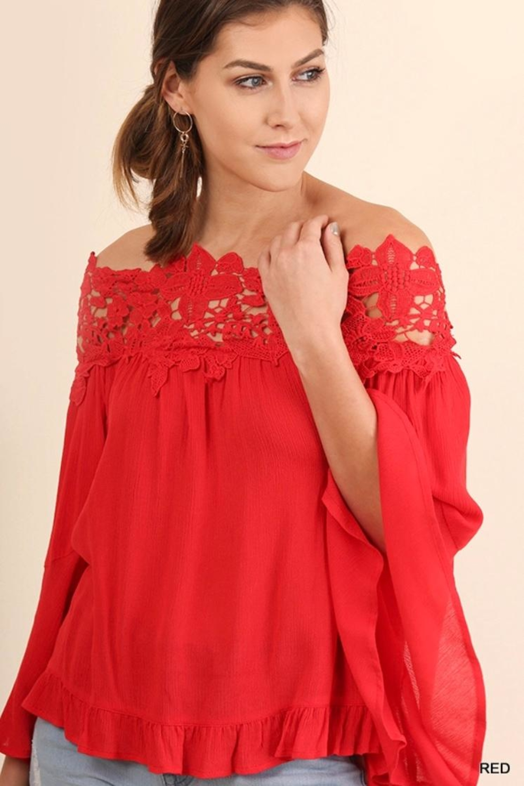 Umgee USA Lace Bell-Sleeve Blouse - Main Image