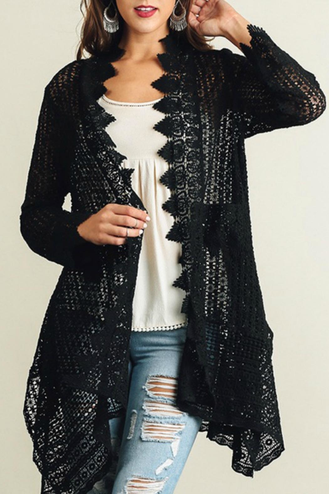 Umgee USA Lace Detailed Cardigan - Front Cropped Image
