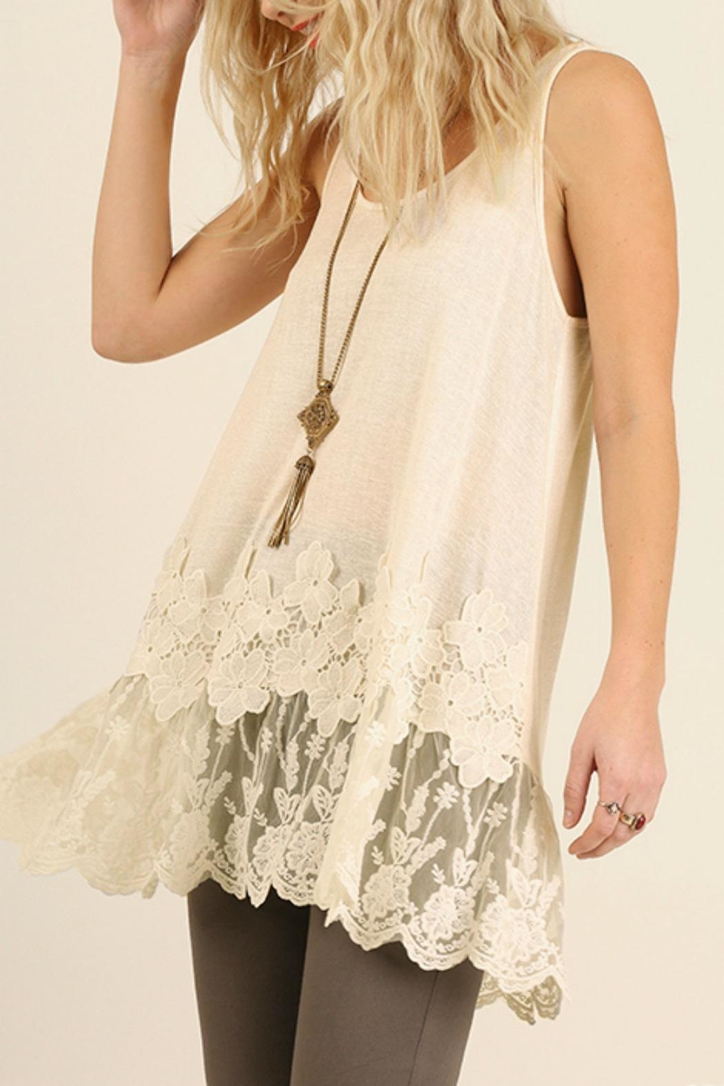 Umgee USA Lace Floral Tank - Front Full Image