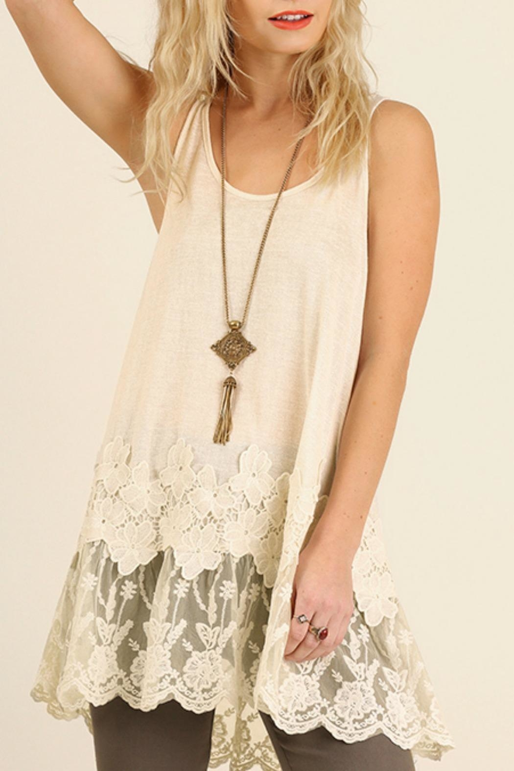 Umgee USA Lace Floral Tank - Front Cropped Image