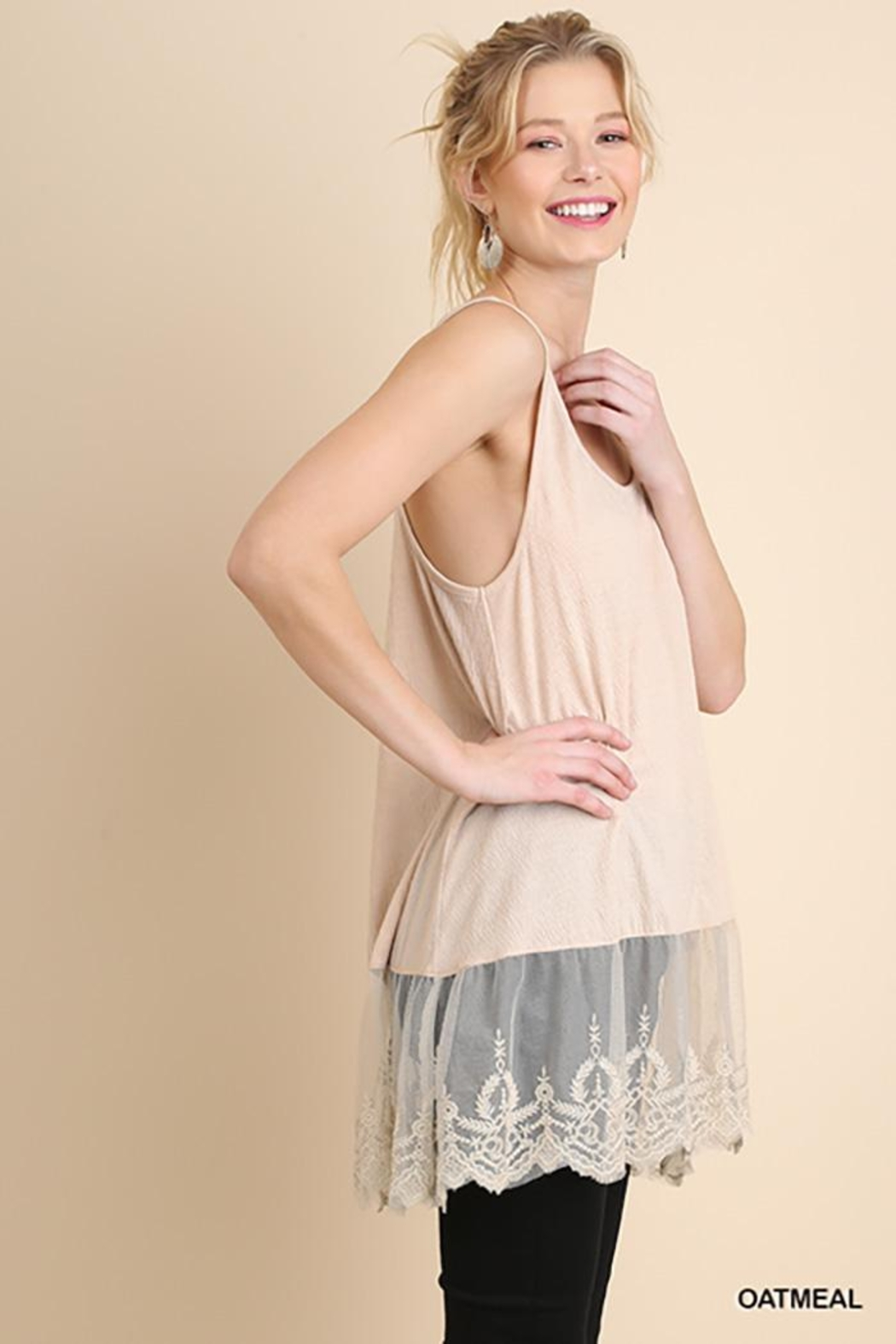 Umgee USA Lace Hemline Tank Top - Back Cropped Image
