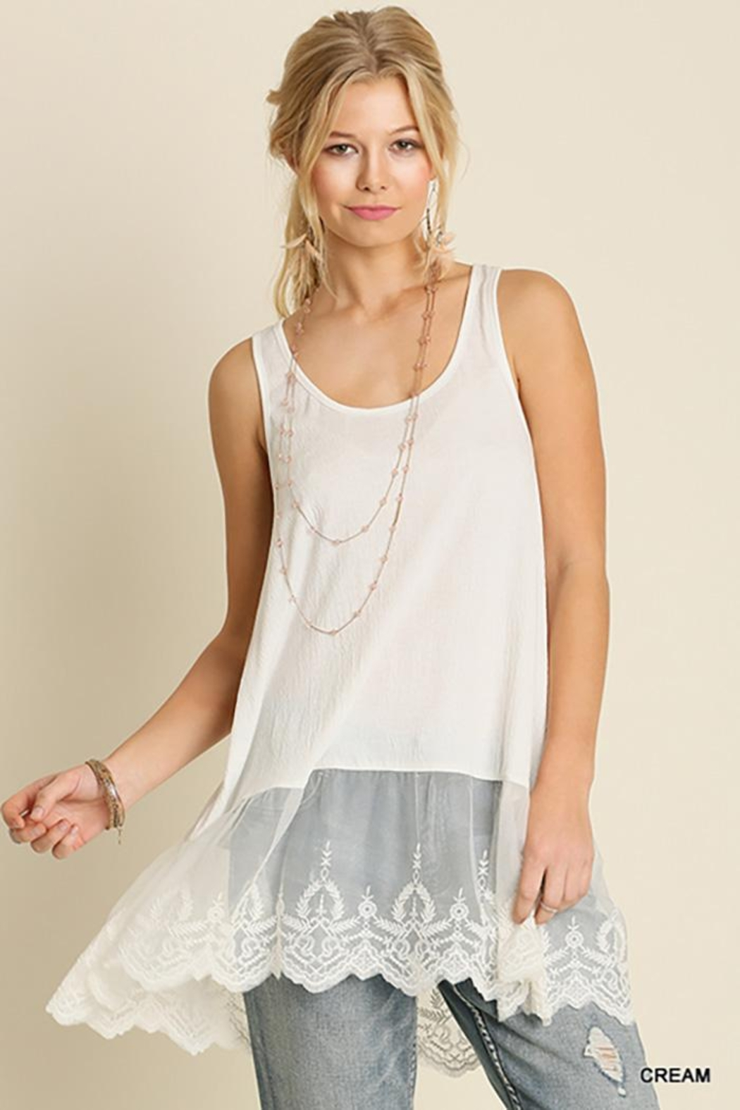 Umgee USA Lace Hemline Tank Top - Front Cropped Image