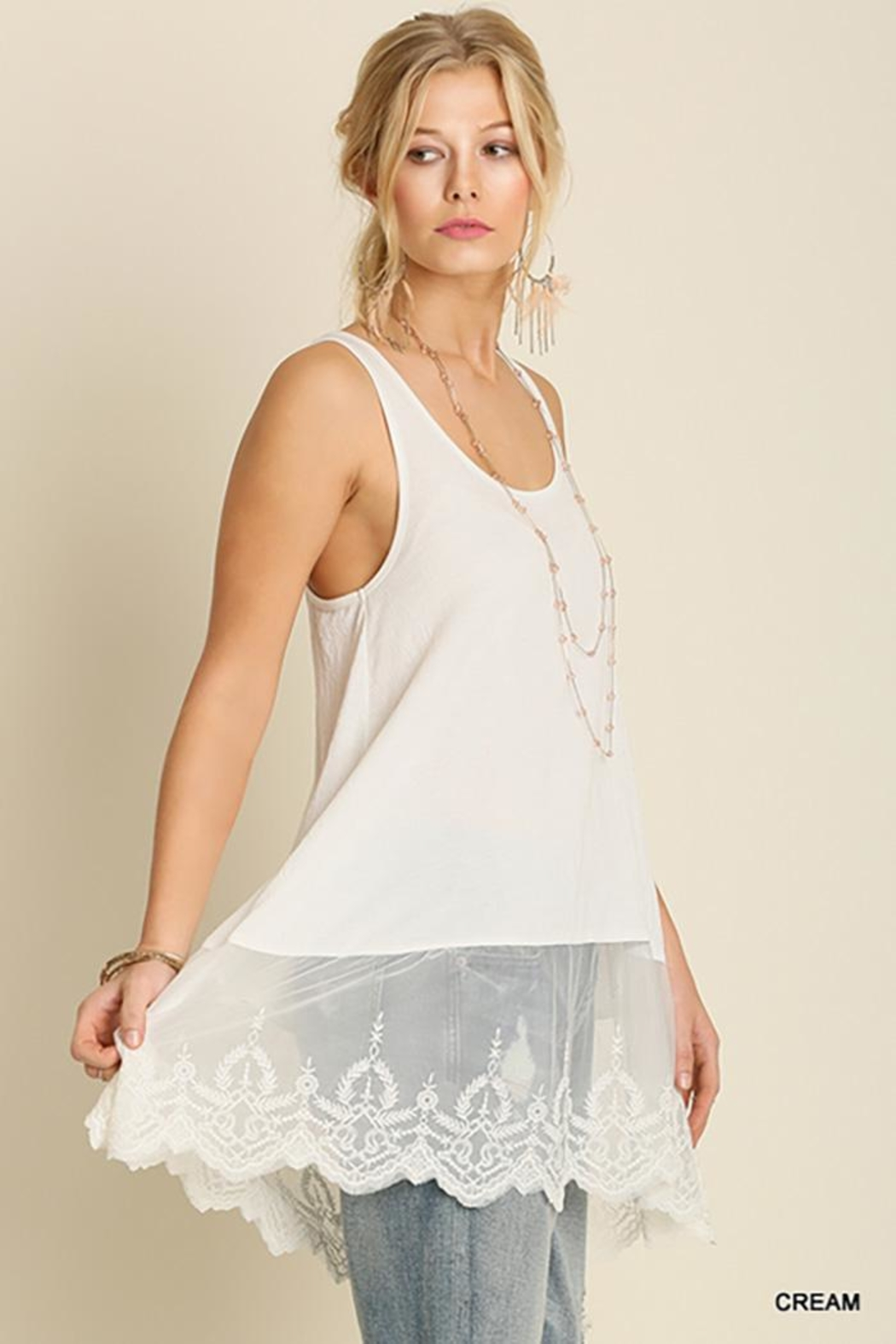 Umgee USA Lace Hemline Tank Top - Side Cropped Image