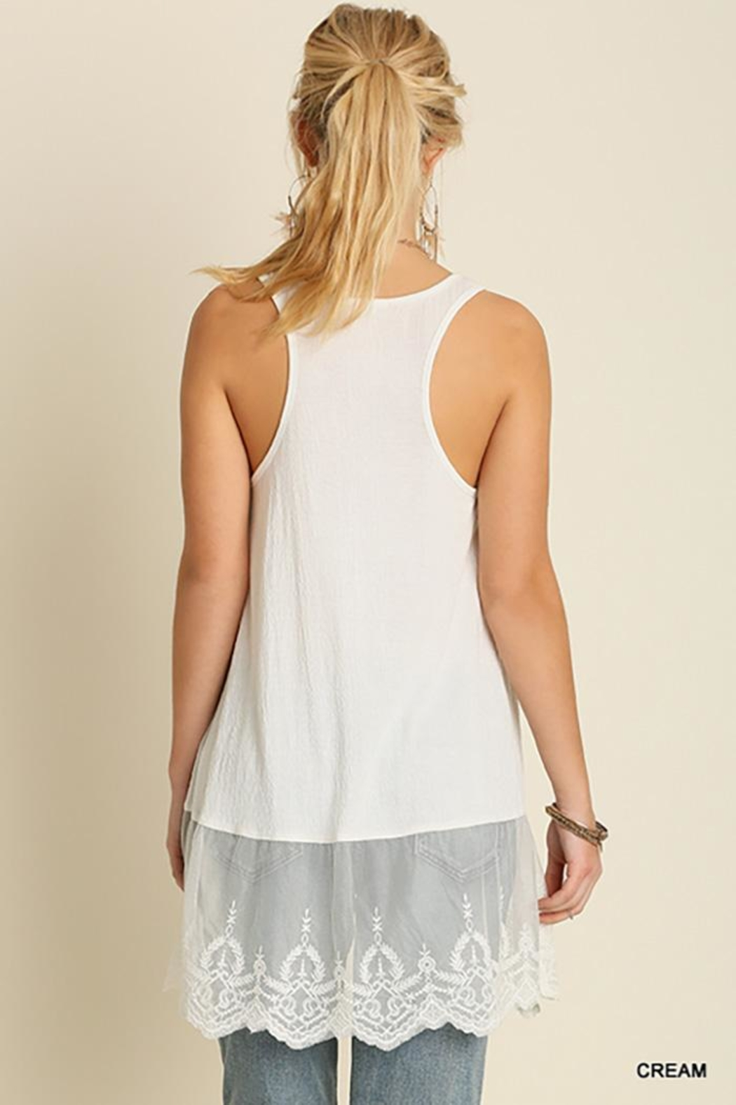 Umgee USA Lace Hemline Tank Top - Front Full Image