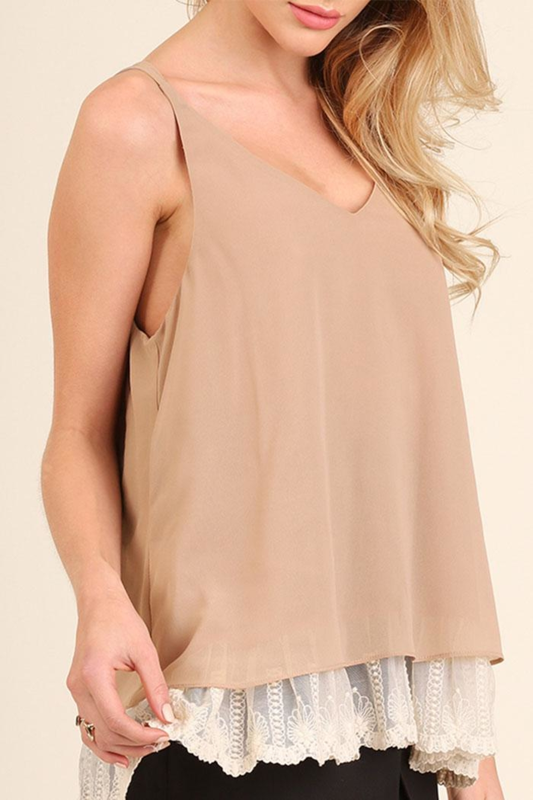 Umgee USA Lace Hemline Top - Front Full Image