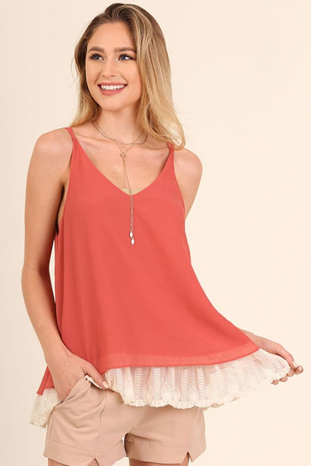 Umgee USA Lace Hemline Top - Front Cropped Image