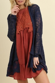 Umgee USA Lace Long Line Cardigan - Front cropped