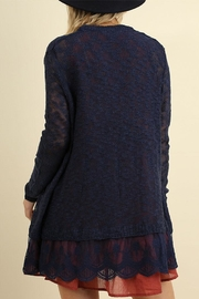 Umgee USA Lace Long Line Cardigan - Front full body