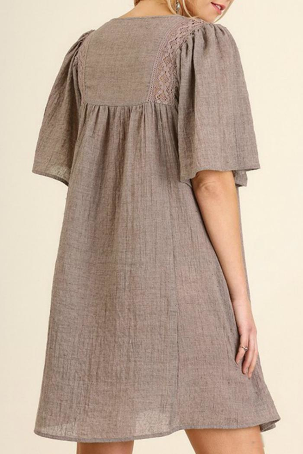 Umgee USA Lace Neckline Dress - Front Full Image