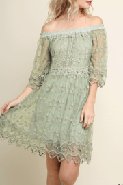 Umgee USA Lace Off Shoulder Dress - Front cropped