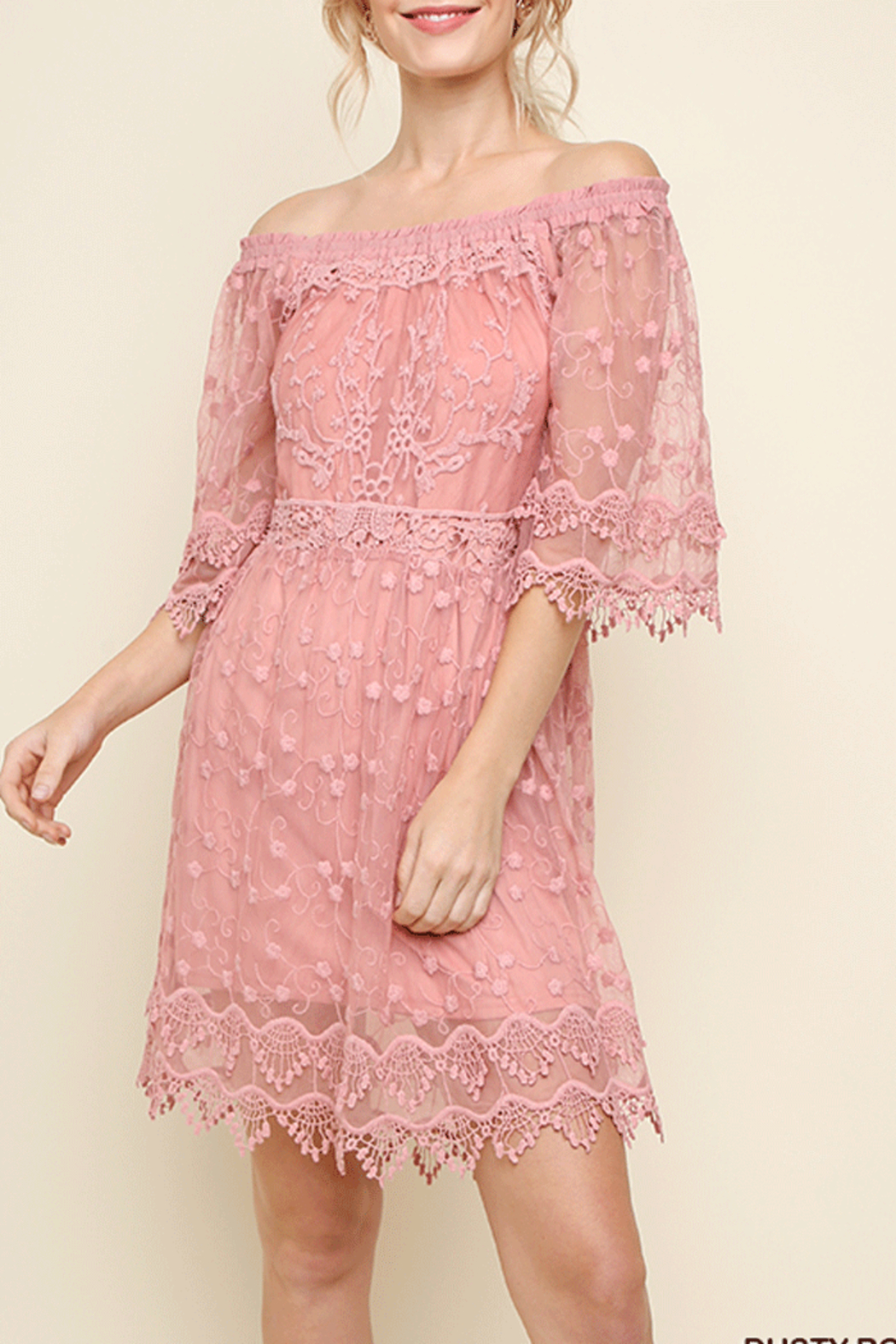 Umgee USA Lace Off Shoulder Dress - Main Image