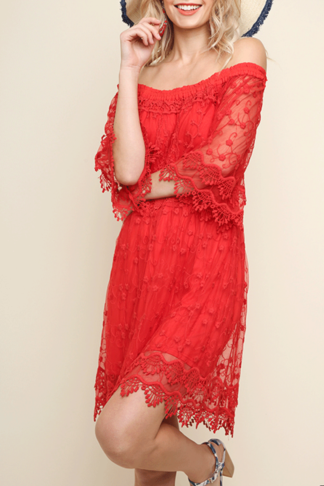 Umgee USA Lace Off Shoulder Dress - Front Cropped Image