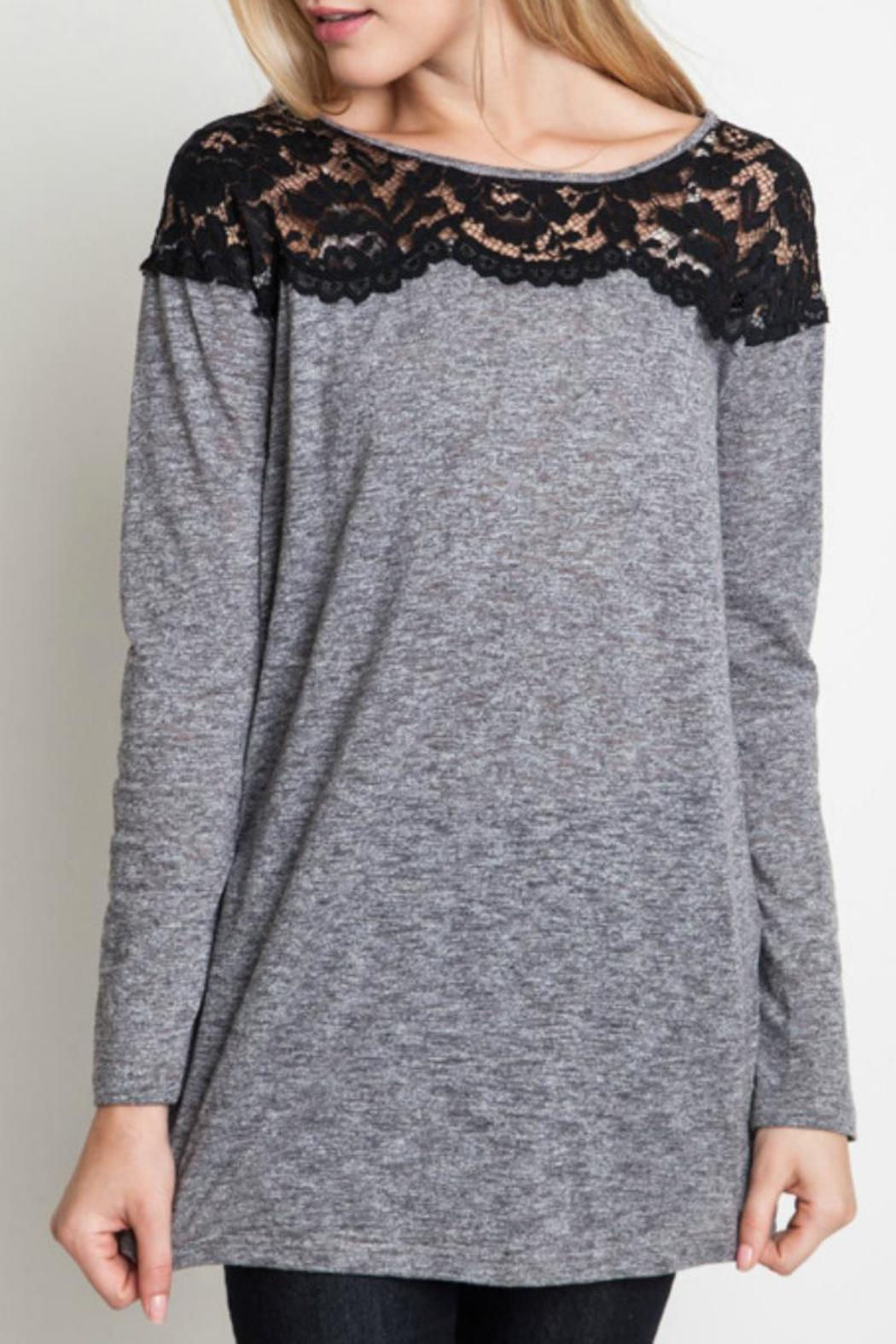 Umgee USA Lace Shoulder Top - Front Cropped Image