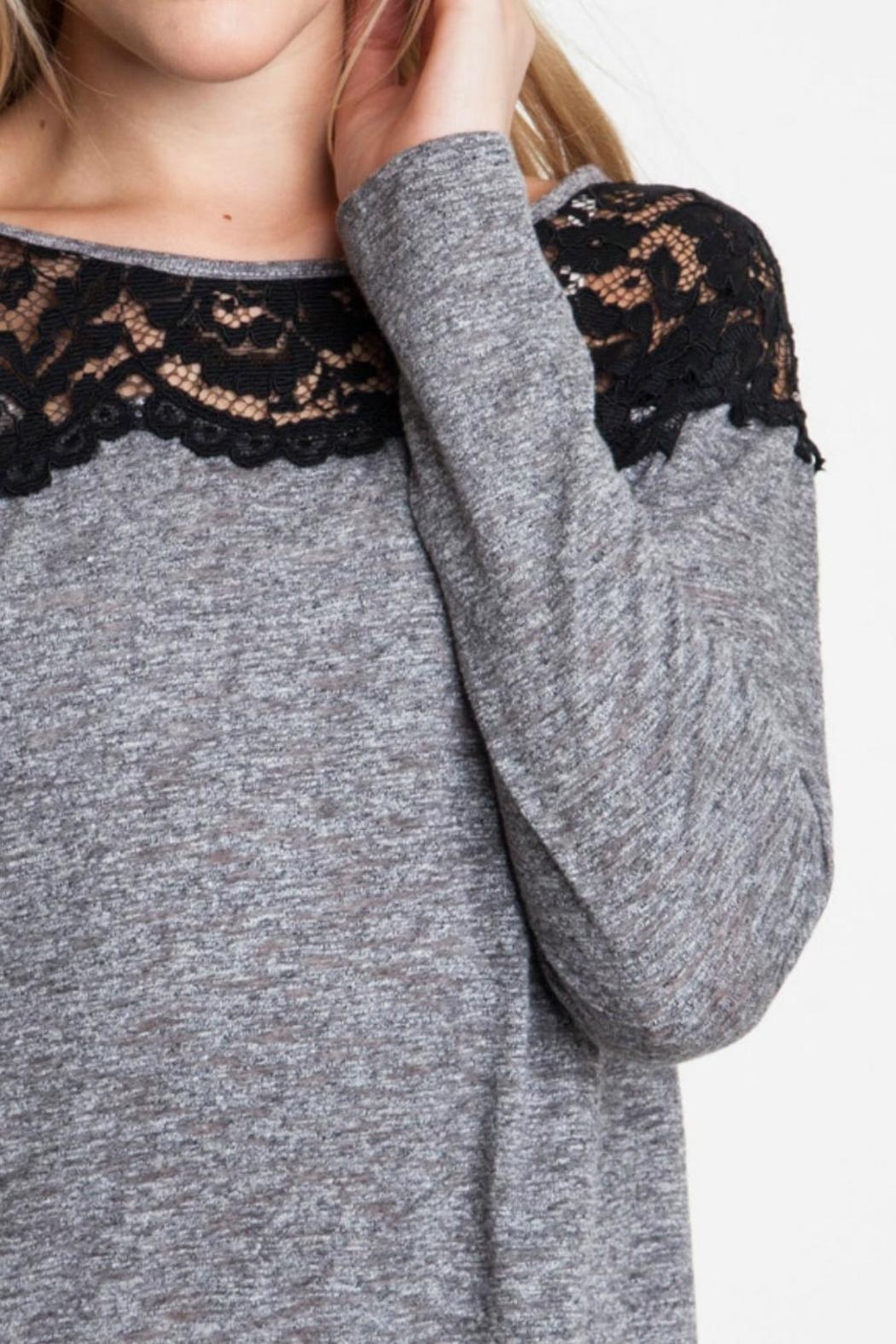Umgee USA Lace Shoulder Top - Front Full Image