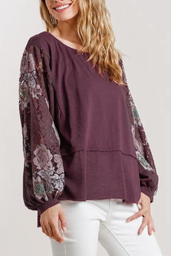 Umgee USA Lace Sleeve Top - Product List Image