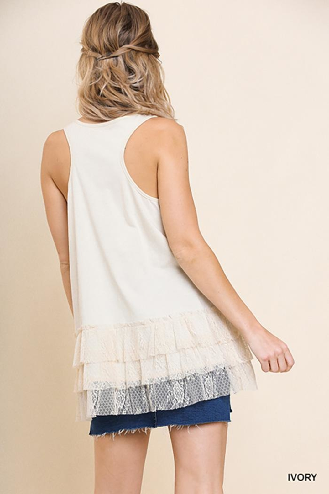 Umgee USA Lace Trim Sleeveless Top - Front Full Image