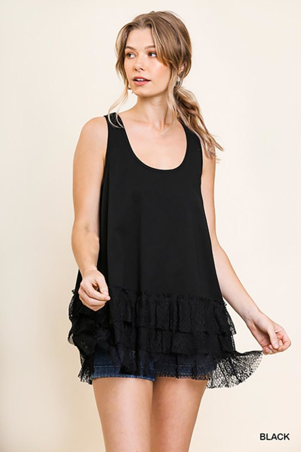 Umgee USA Lace Trim Sleeveless Top - Front Cropped Image