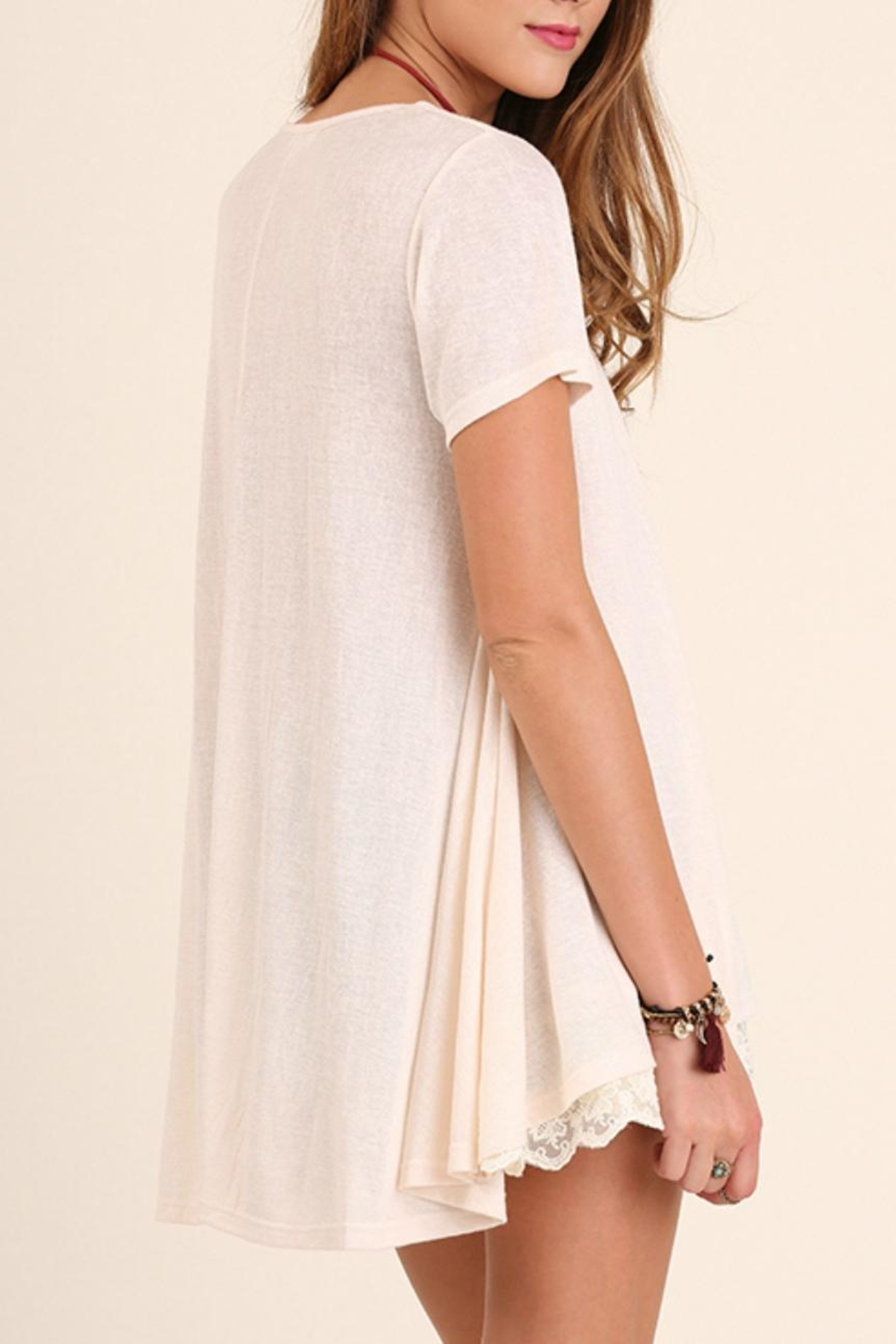 Umgee USA Lace Trim Tunic Top - Front Full Image