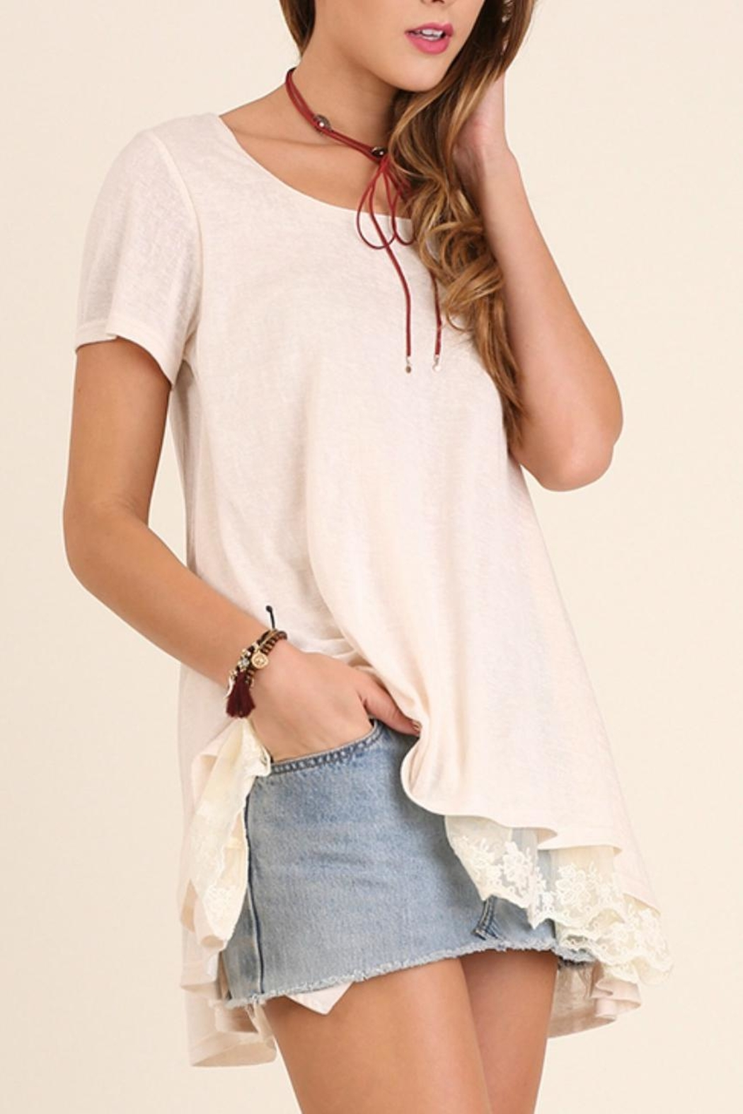 Umgee USA Lace Trim Tunic Top - Front Cropped Image