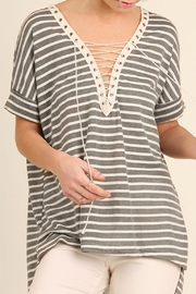 Umgee USA Lace Up Stripes Top - Product Mini Image