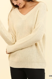 Umgee USA Lace Up Sweater - Front cropped