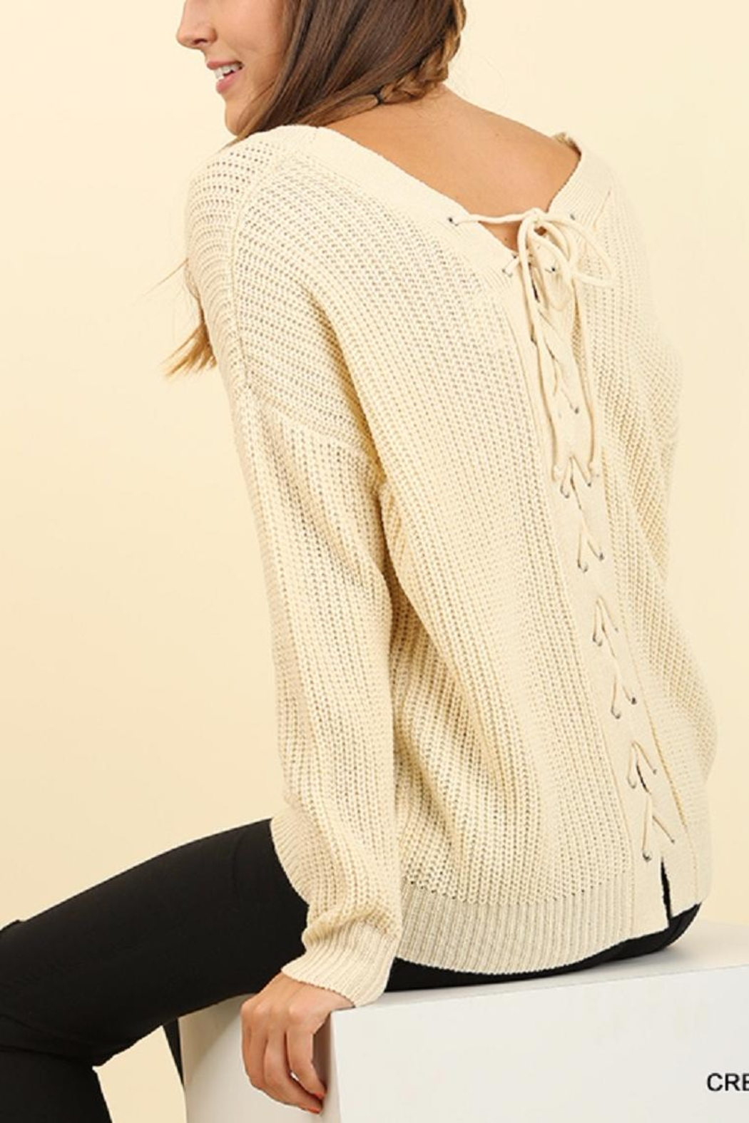 Umgee USA Lace Up Sweater - Front Full Image