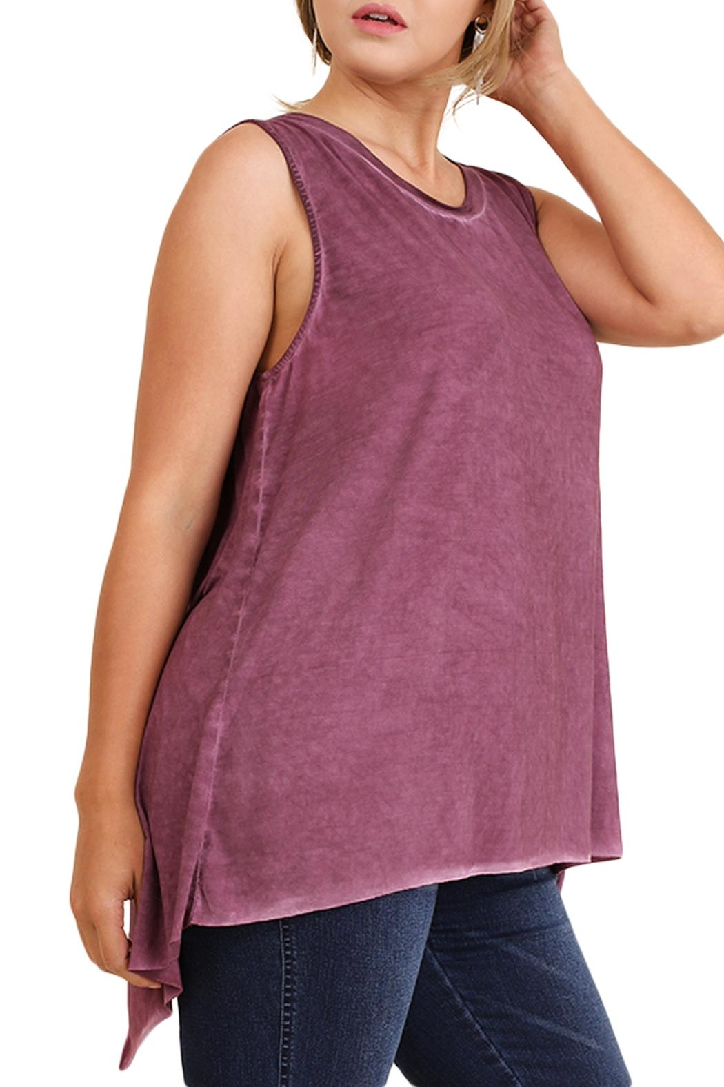 Umgee USA Lace Up Tank Top - Back Cropped Image