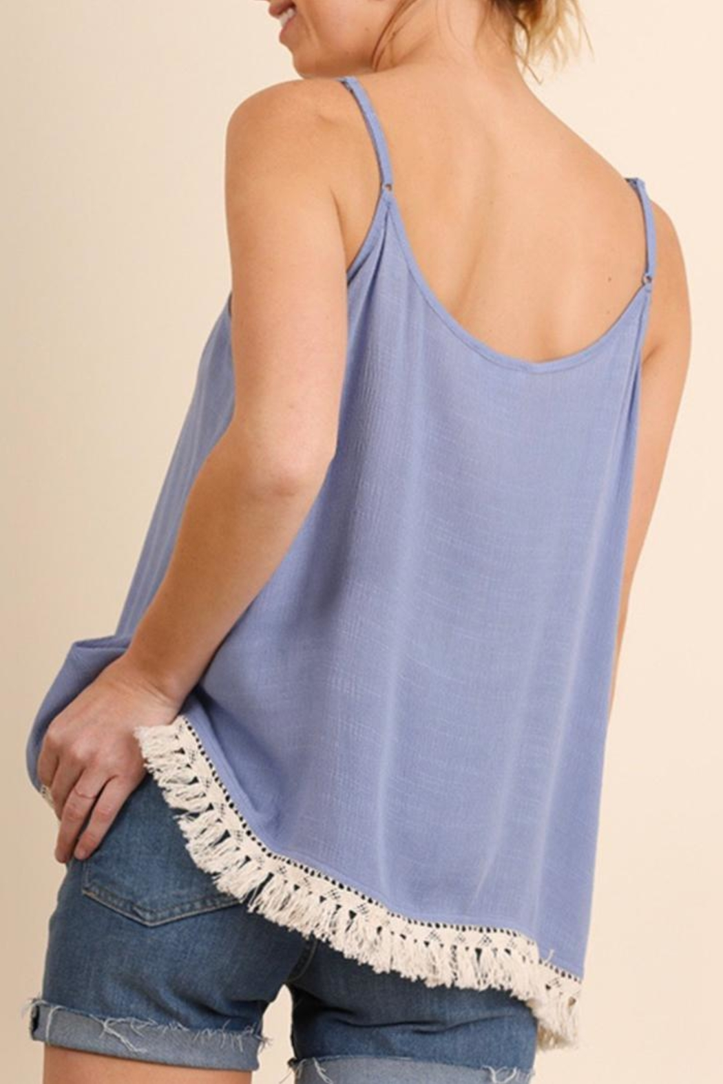 Umgee USA Lace-Up Tank Top - Front Full Image