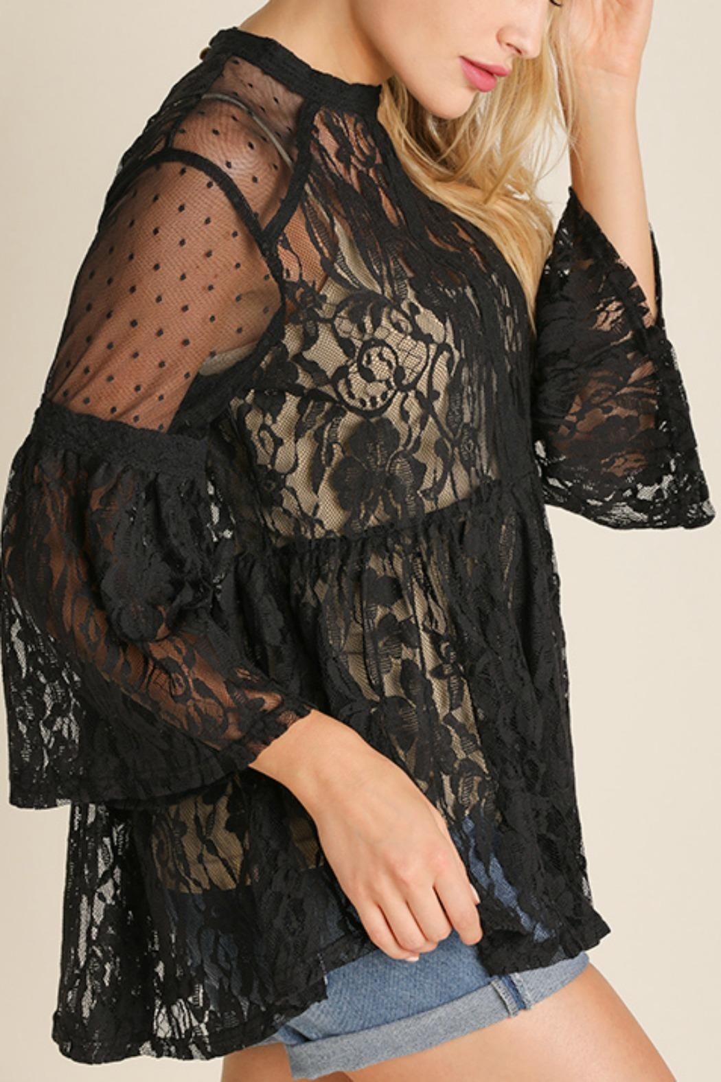 Umgee USA Lace Vintage Bohemian Top - Front Full Image