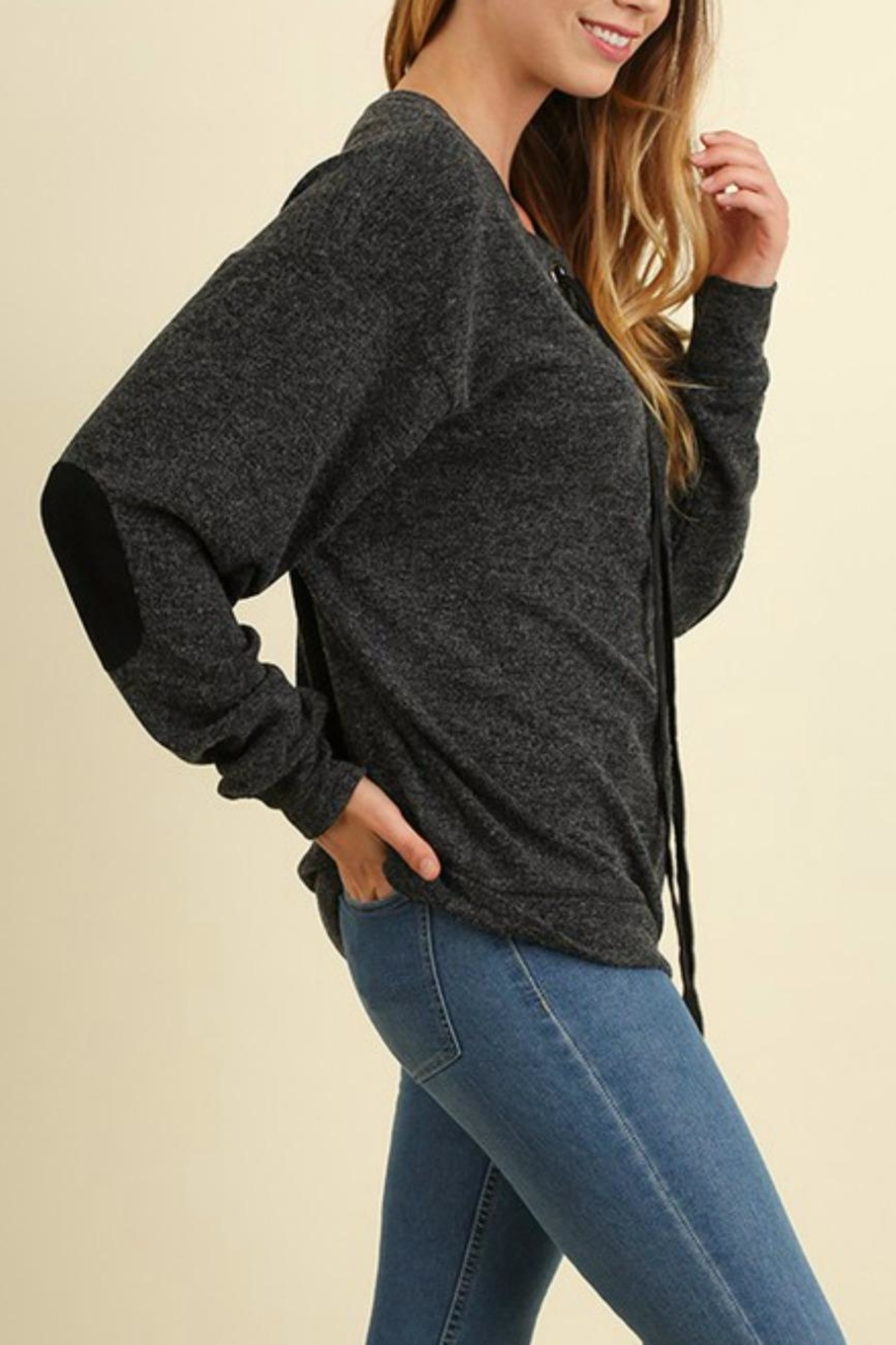 Umgee USA Laceup Patch Sweater - Front Full Image