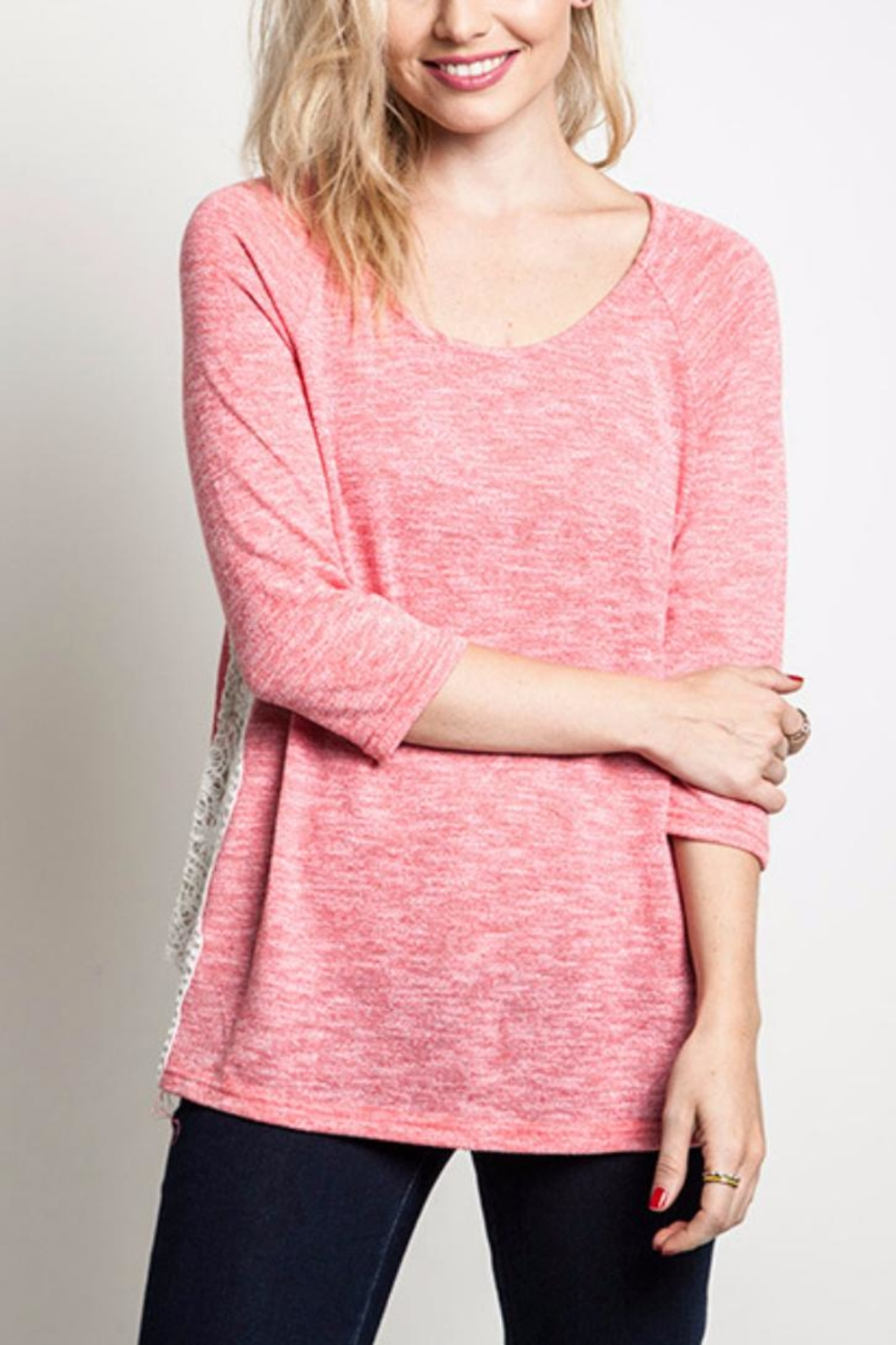Umgee USA Lacey Knit Top - Front Cropped Image