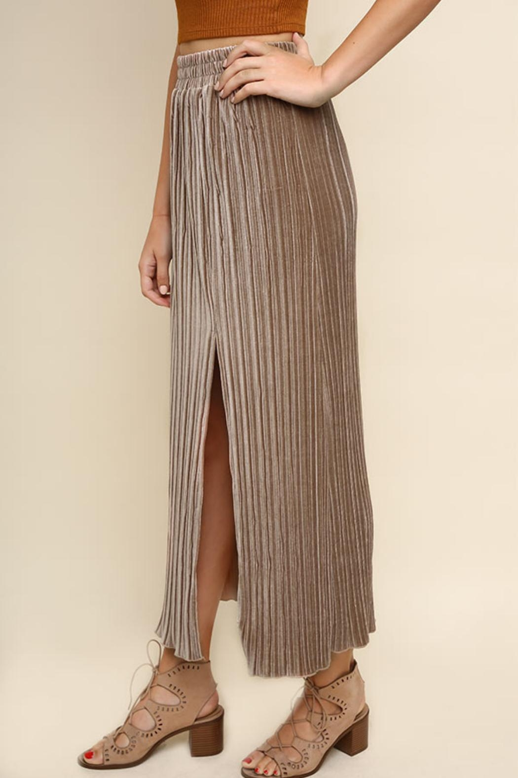 Umgee USA Latte Maxi Skirt - Front Cropped Image