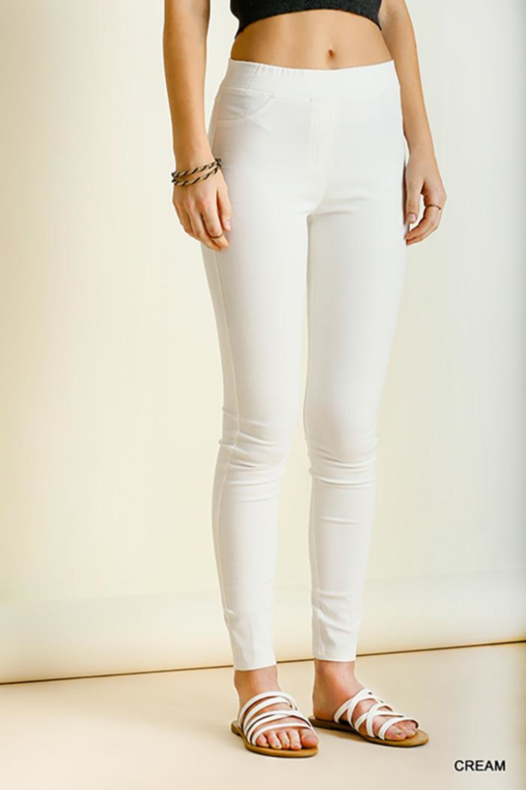 Umgee USA Leggings With Elastic Waistband - Front Cropped Image