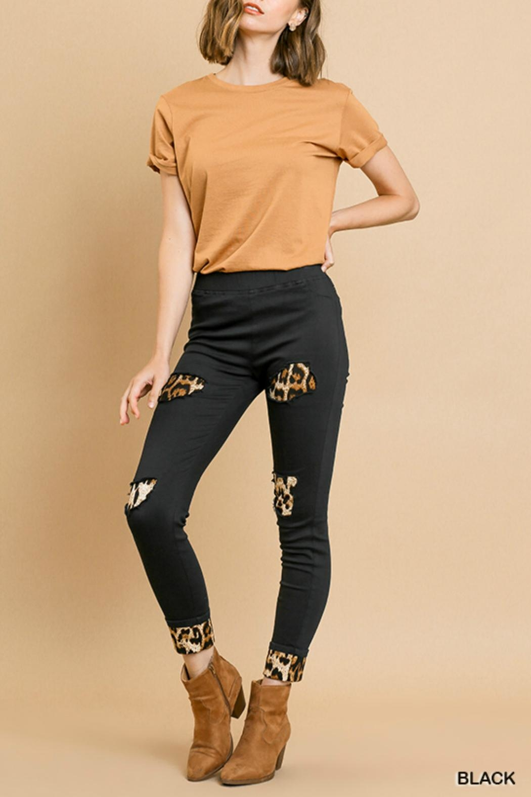 Umgee USA Leopard Patchwork Pants - Side Cropped Image