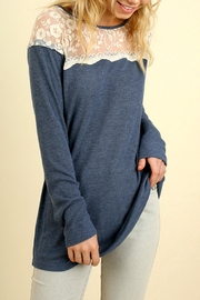 Umgee USA Lightweight Lace-Neckline Top - Product Mini Image
