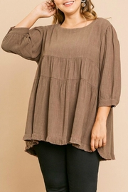 Umgee USA Linen Babydoll Tunic - Front cropped