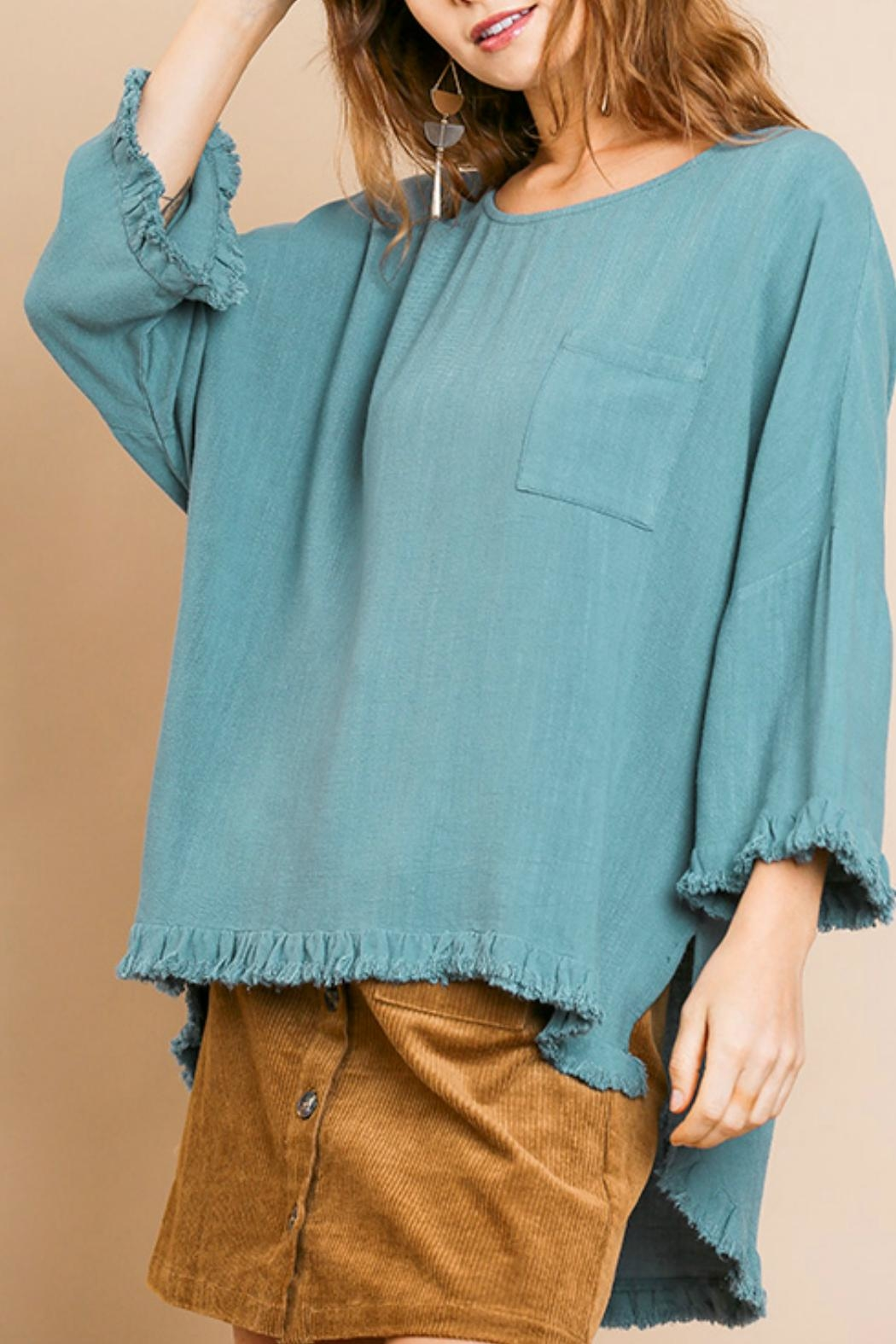Umgee USA Linen Blend Top - Front Cropped Image