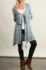 Umgee USA Long Blue Cardigan - Front full body