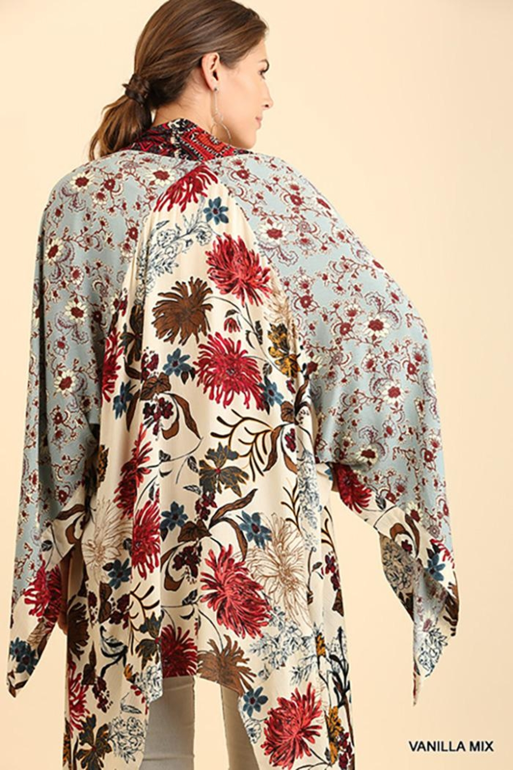 Umgee USA Long Body Kimono Floral Print Design - Front Full Image