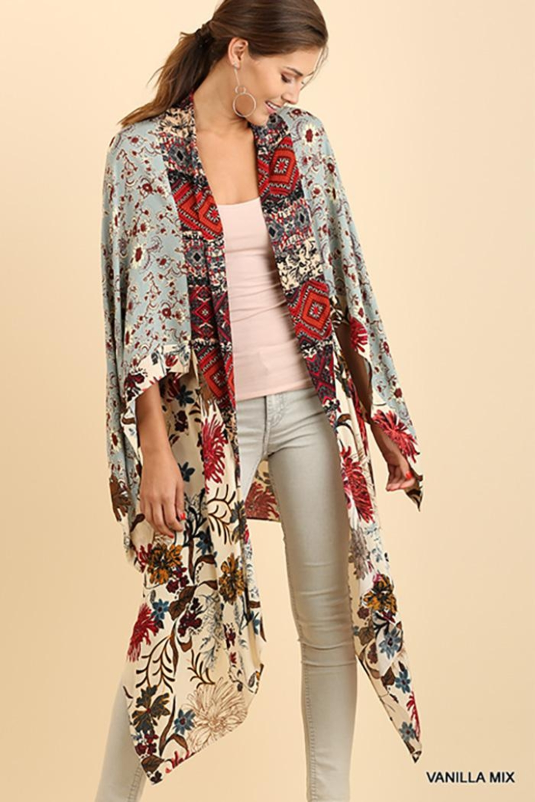 Umgee USA Long Body Kimono Floral Print Design - Main Image