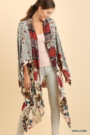Umgee USA Long Body Kimono Floral Print Design - Front cropped