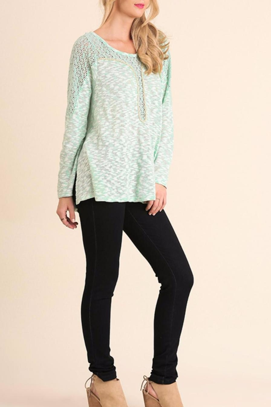 Umgee USA Marled Long Sleeve Top - Front Full Image