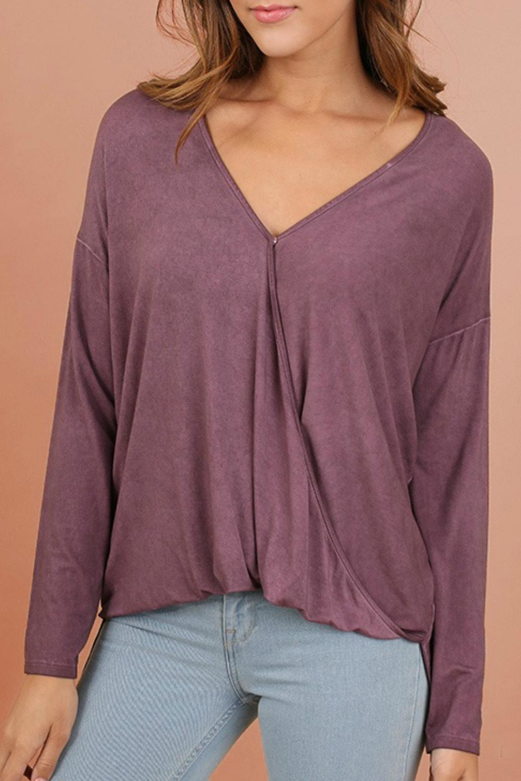 Umgee USA Mineral V-Neck Top - Front Cropped Image