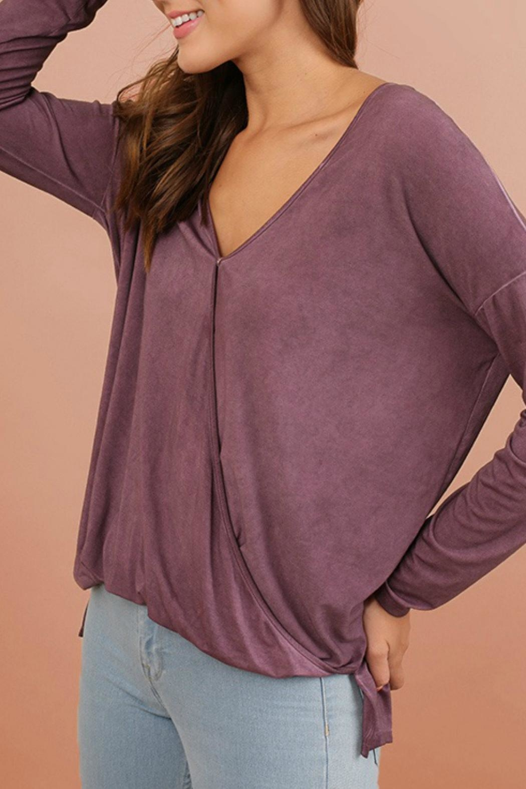 Umgee USA Mineral V-Neck Top - Front Full Image