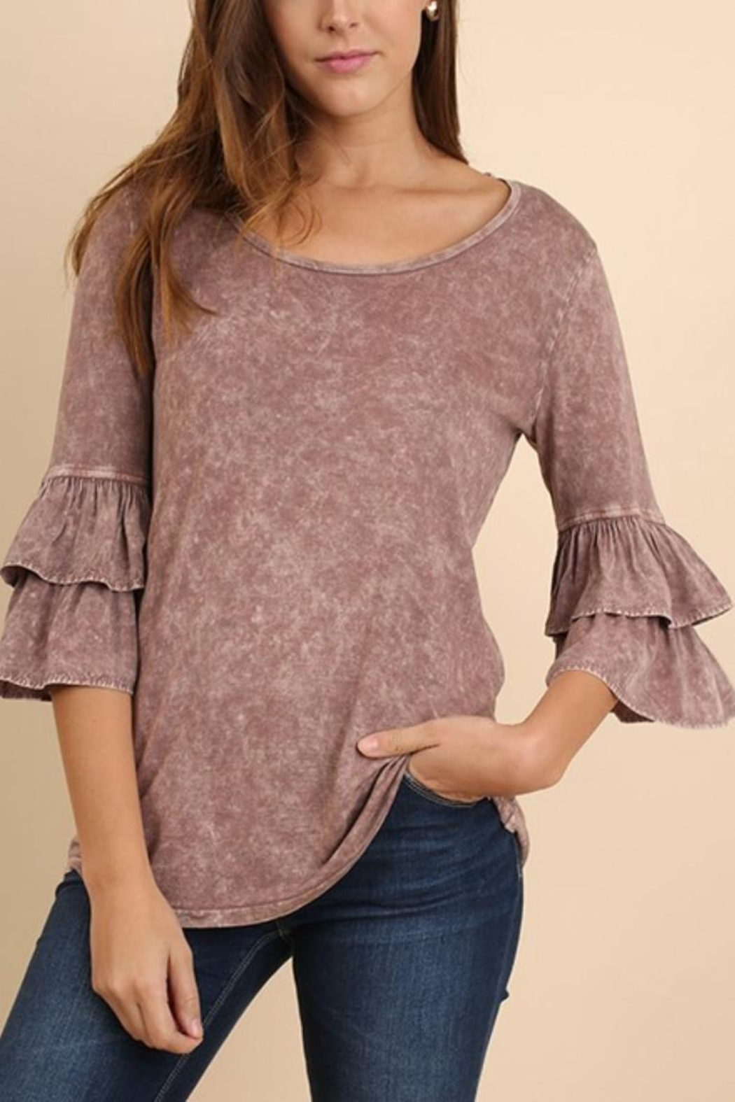 Umgee USA Mineral-Washed Ruffle-Sleeved Top - Front Cropped Image