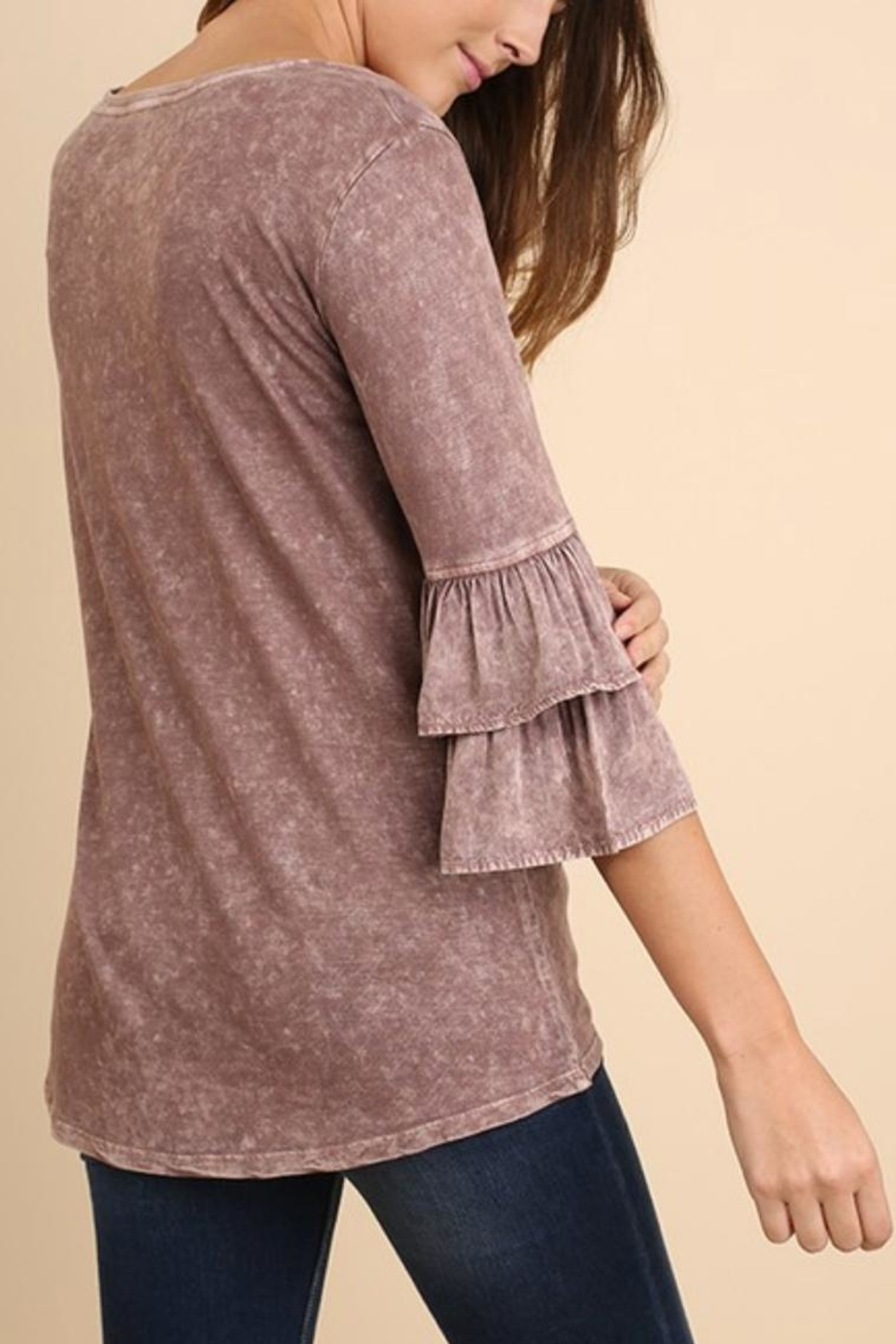 Umgee USA Mineral-Washed Ruffle-Sleeved Top - Front Full Image