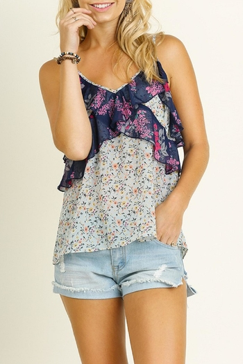 Umgee USA Mint Floral Tank Top - Main Image