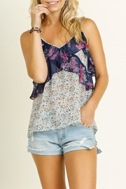 Umgee USA Mint Floral Tank Top - Front cropped